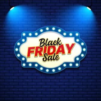 복고풍 기호 스타일으로 검은 금요일 판매 배너 서식 파일