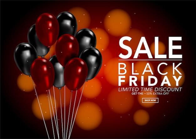 Черная пятница продажа баннер шаблон с блестящим воздушным шаром на фоне боке