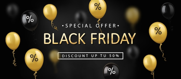 Black friday sale, banner template with shiny balloons