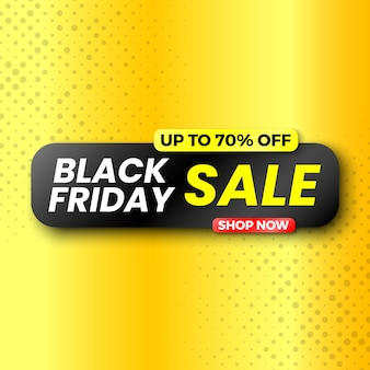 Black friday sale banner, up to 70% off.