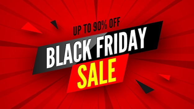 Black friday sale banner, up to 90% off.