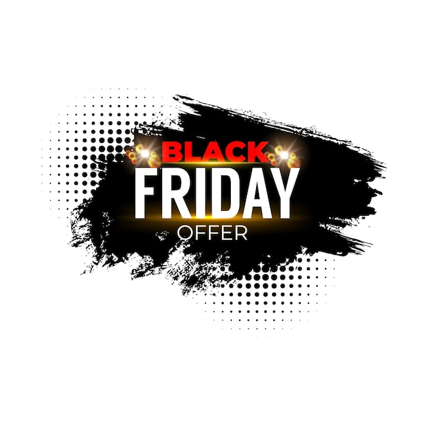 ブラックフライデーセールのバナー。週末のショップオファーとプロモーションラベル、黒のペイントまたはインクストローク、スプレーステイン、ハーフトーン効果を備えたグランジベクトルバナーを宣伝する季節割引のショッピング
