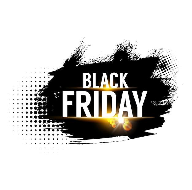 블랙 프라이데이 판매 배너, 주말 상점 제공 및 프로모션 레이블, 벡터 상점 할인 프로모션. 블랙 프라이데이 판매 및 정리 거래, 검은색 하프톤 페인트 브러시 쇼핑을 위한 제한된 특별 할인