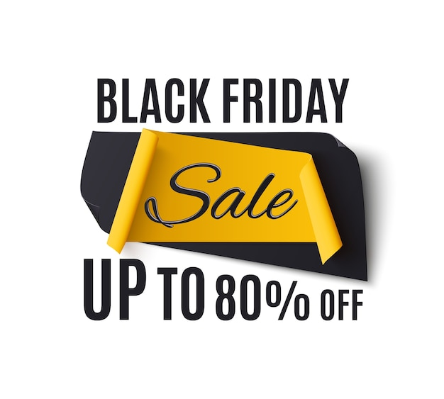 Black friday sale banner,  on white background. template for poster or brochure.  illustration.