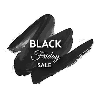 Черная пятница продажа баннер. белый текст на темном мазке кисти гранж. векторная иллюстрация