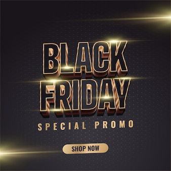 Black friday sale banner with 3d black and gold text