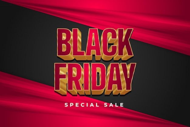 Black friday sale banner with 3d elegant text and black and red background