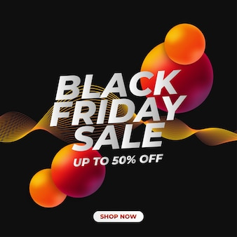Black friday sale banner with 3d fluid and curved waves on black background