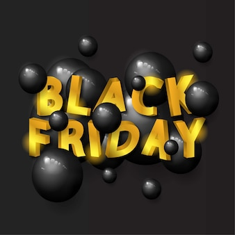 Black friday sale banner with 3d golden text and balls