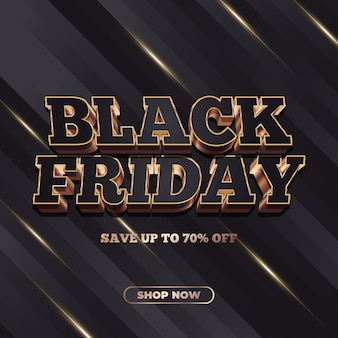 Black friday sale banner with 3d text in black and gold concept