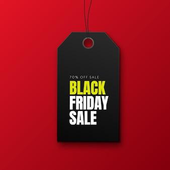 Черная пятница продажа баннер с черным ценником на красном фоне вектор рекламный баннер