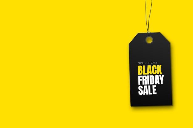 Черная пятница продажа баннер с черным ценником на желтом фоне вектор рекламный баннер