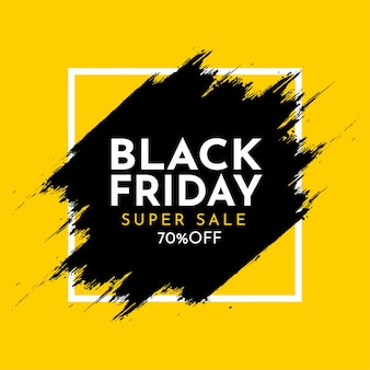 Black friday sale banner with abstract brush stroke