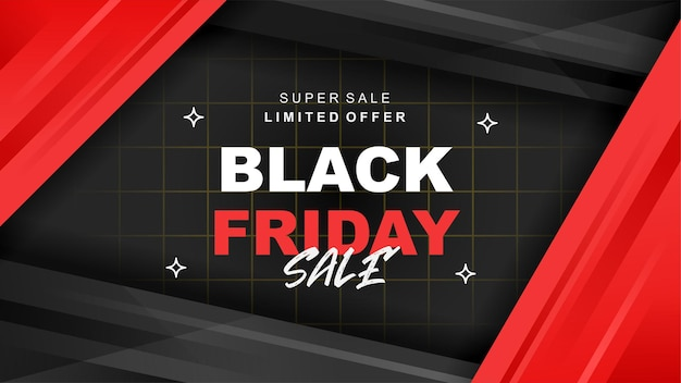 Black friday sale banner with abstract shapes design a