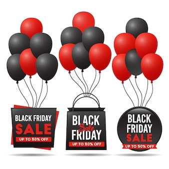 Black friday sale banner with balloon set