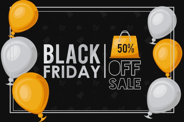 Black friday sale banner with balloons helium and shopping bags
