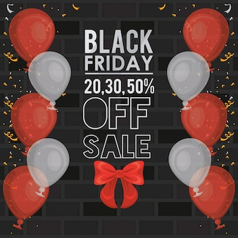 Black friday sale banner with balloons helium
