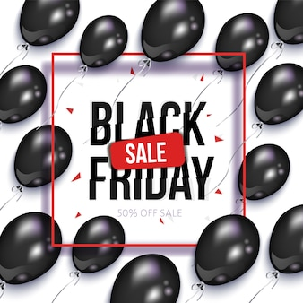 Black friday sale banner with balloons