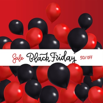 Черная пятница распродажа баннер с черными и красными воздушными шарами вокруг белой ленты с нарисованным текстом надписи gand.