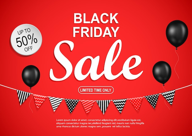 Black friday sale banner with black balloon on red background.