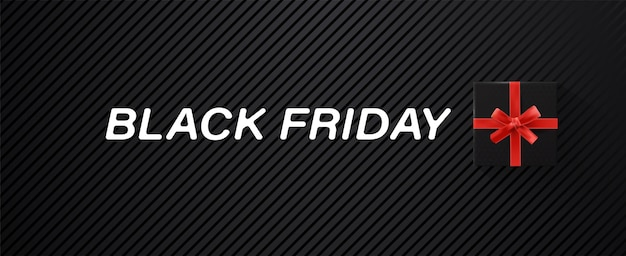 Черная пятница продажа баннер с черной подарочной коробкой и красной лентой и белым белым текстом на фоне текстуры.