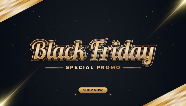 Black friday sale banner with black and gold concept in elegant style