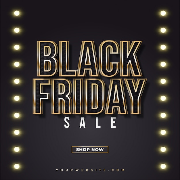 Black friday sale banner with black and gold text and glowing lights