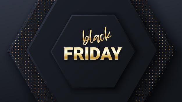 검은 벌집 타일 검은 금요일 판매 배너. 검은 금요일 상업 배너, 모양 및 황금 글자. 육각 기하학 패턴. 현대 표지 벌집의 최소한의 배경,