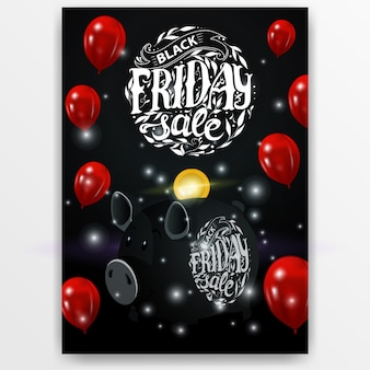 Black friday sale. banner with black piggy bank and balloon