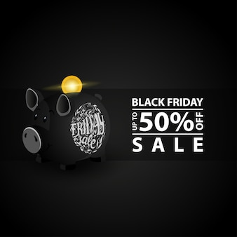 Black friday sale. banner with black piggy bank