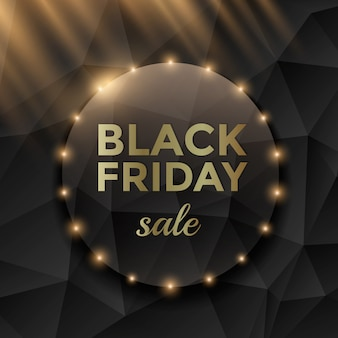 Black friday sale banner with black triangle background and gold text.