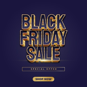 Black friday sale banner with blue and gold text in elegant style