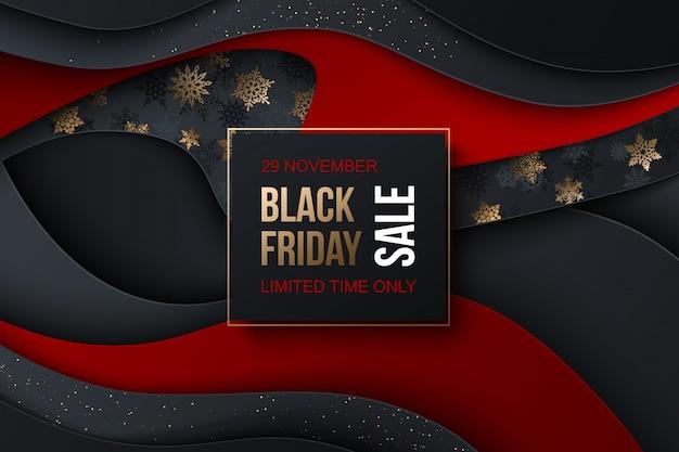 ブラックフライデーセールバナー。クリスマスの装飾的な要素の雪片、光沢のある粒子。紙のスタイル