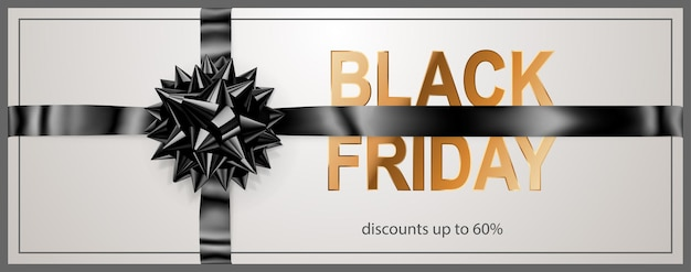 Black friday sale banner with dark bow and ribbons on white background. vector illustration for posters, flyers or cards.