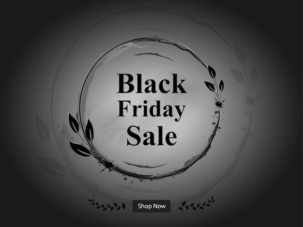 Black friday sale banner with floral frame
