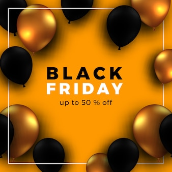 Black friday sale banner with flying helium balloons
