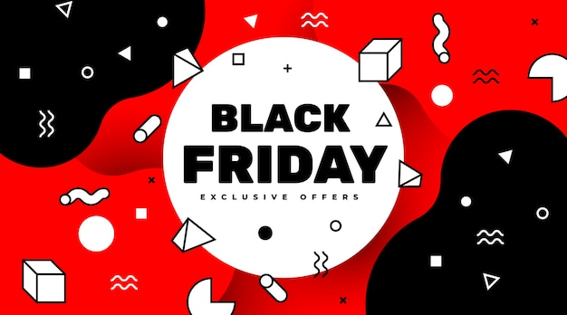 Black friday sale banner with geometrical shapes