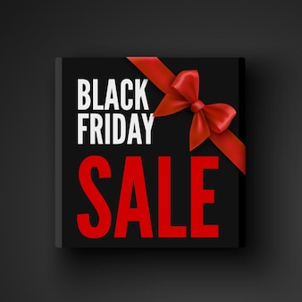 Black friday sale banner with gift box and red bow