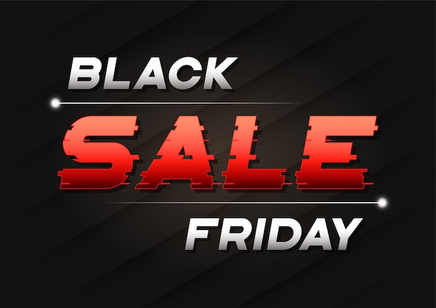 Black friday sale banner  with a glitch sled text.