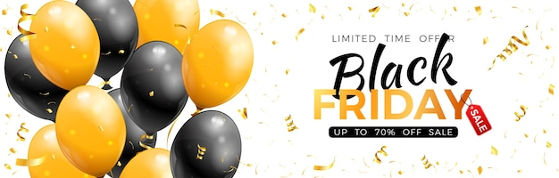 Black friday sale banner with glossy gold and black balloons, confetti and frame.