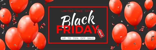 Black friday sale banner with glossy red balloons, tag and confetti.