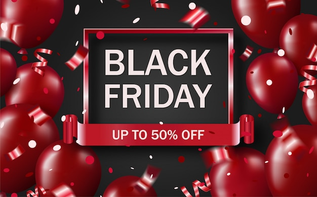 Black friday sale banner with glossy shiny red balloons and confetti