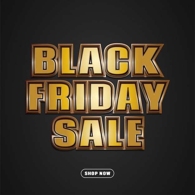 Black friday sale banner with gold embossed text and dark background