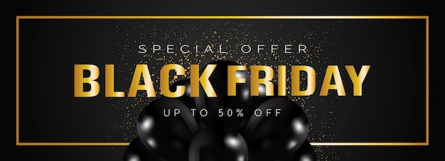 Black friday sale banner with gold letters