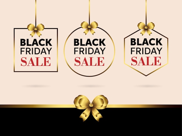 Black friday sale banner with gold ribbon bow