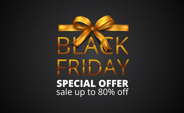 Black friday sale banner with golden ribbon