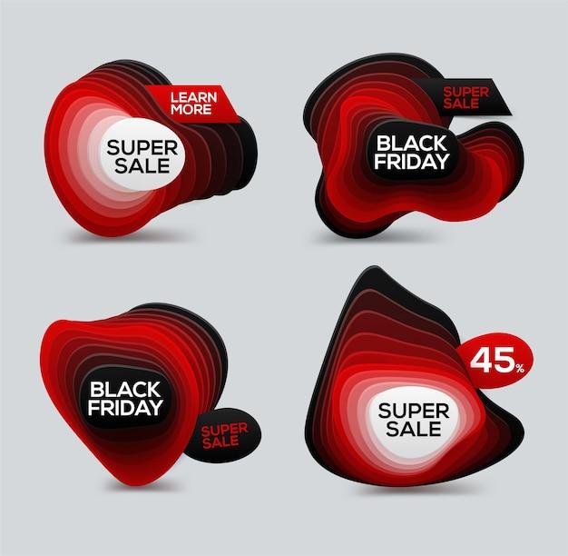 広告とスーパーオファーのためのグラデーションレイヤー付きのブラックフライデーセールバナー。