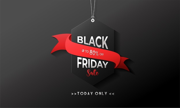 Black friday sale banner with hang tag and black background