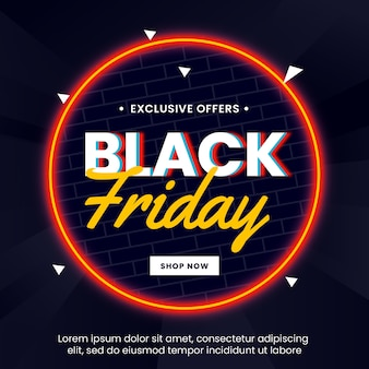 Black friday sale banner with light circle neon