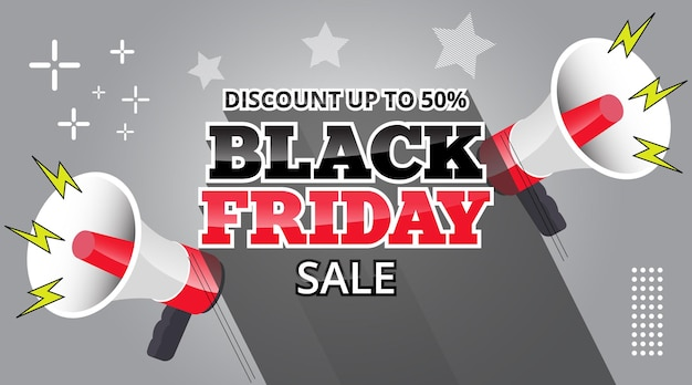 Black friday sale banner with loud speaker and long shadow text